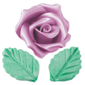 Rosen mit Blättern aus modellierbarer Zuckermasse, Perlmutt-Effekt, groß, lila