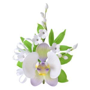 Tragant-Orchideebouquet mit Mandelbume, nicht essbar, 19cm, 6 Stück