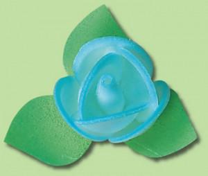 Waffel-Blumen mit Blättern, hellblau