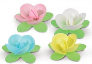 Waffel-Blumen mit Blättern, 5-fach sortiert