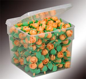 Waffel-Blumen mit Blättern, orange, 40mm, 200 Stück