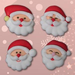 Zucker-Weihnachtsmannköpfe,  4-fach sortiert, 25 mm