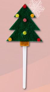 Weihnachtsbaum-Einstecker, aus Filz am Kunststoffstab