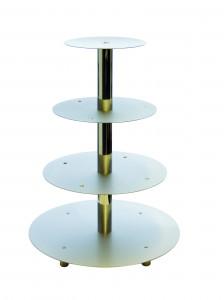 Tortenständer silber mit 4 Etagen, sehr stabile Ausführung