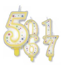 """Große Kerzen-Zahlen """"0-9"""" mit Halter, Zahlen frei wählbar"""