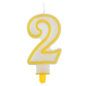 """Große Kerzen-Zahl """"2"""" mit Halter"""