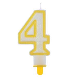 """Große Kerzen-Zahl """"4"""" mit Halter"""