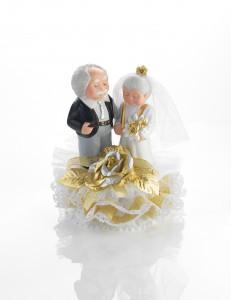 Porzellan-Brautpaar Goldhochzeit mit Blumen, Basis zum Öffnen, 18cm, 1 Stück