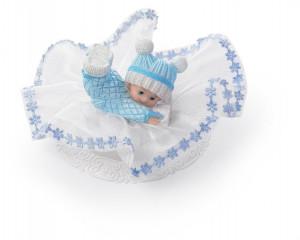 Taufaufsatz Baby spielend auf Tüllsockel, blau, 2-fach sortiert, Polystone, 10cm, 8 Stück