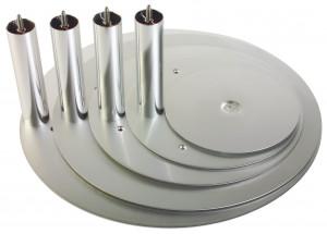 Aluminium-Tortenteller silber, 32cm