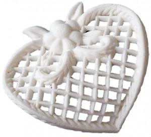 Filigran-Herzen, Tragantzucker, groß, weiß, 9 Stück