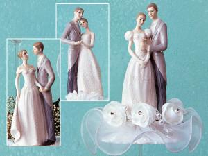 Elegantes Brautpaar auf Tüll, mit Blumen- und Perlendekor, 3-fac