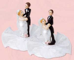 Lustiges Brautpaar auf Tüll, 2-fach sortiert, Polystone