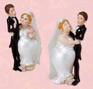 Lustiges Brautpaar mit Tüllschleier, 2-fach sortiert, Polystone