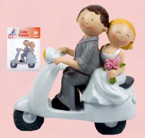 Brautpaar auf Roller, in dekorativer Verkaufsschachtel, Polyston