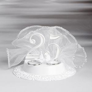 """Tortenaufleger mit Zahl """"25"""", Ringe, Tauben, silber"""