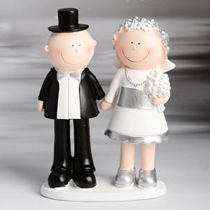 Lustiges Brautpaar Silberhochzeit, Polystone, 15cm, 2 Stück