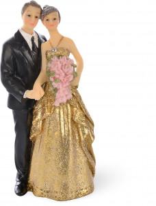 """Brautpaar """"Goldhochzeit"""" mit Blumenstrauß und Stoffkleid, 12,5cm, 4 Stück"""