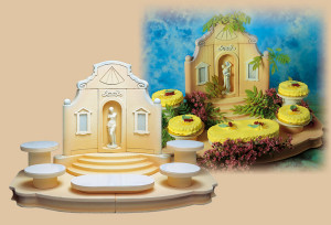 Exclusiver Tortenständer Palladio mit Venus, mit 4 Tortenplatten