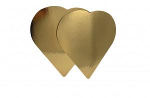 Tortenteller Herz, Tortenunterlage, gold, 25cm, 25 Stück