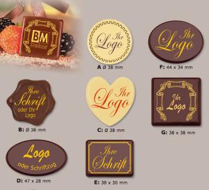 Schoko-Label in verschieden Formen mit Ihrem Namen oder Logo