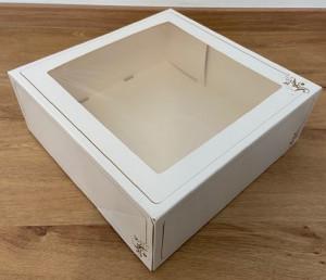 Tortenkarton mit Klarsichtfenster, einteilig, 32x32x11,5cm, 60 Stück