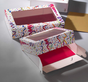 Tortenkarton mit Klarsichtfenster, Luftschlangemotiv