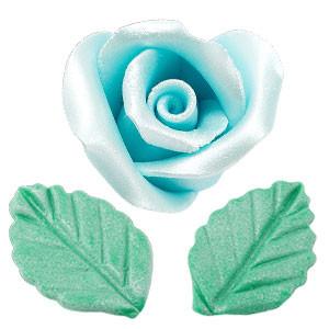 Rosen mit Blättern aus modellierbarer Zuckermasse, Perlmutt-Effekt, klein, hellbau