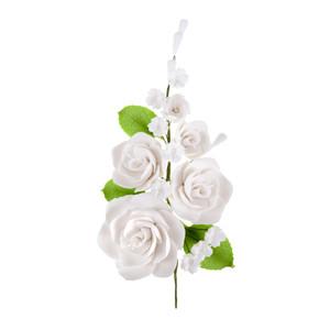 Tragant-Rosenbouquet, nicht essbar, 17cm, 12 Stück