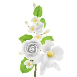 Tragant-Rosenbouquet mit Orchidee, nicht essbar, 14cm, 10 Stück