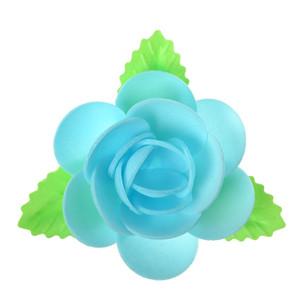 Waffel-Blumen mit Blättern, hellblau, 90mm, 40 Stück
