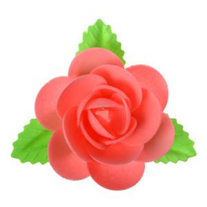 Waffel-Blumen mit Blättern, rot, 90mm, 40 Stück