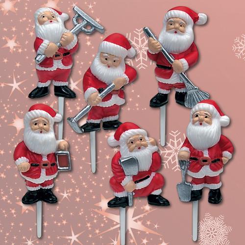 Deko-Weihnachtsmänner, mit Einstecker,  6-fach sortiert