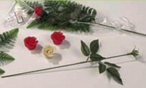 Rosenstiele, biegbar, mit Blättern und Blütenkorb