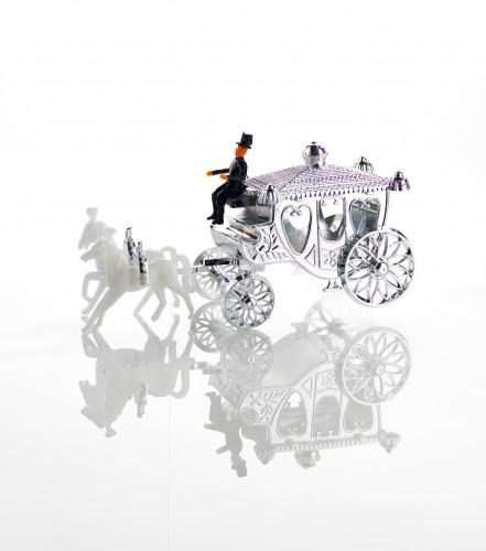 Silber-Kutsche, Kunststoff, 13cm, 5 Stück,