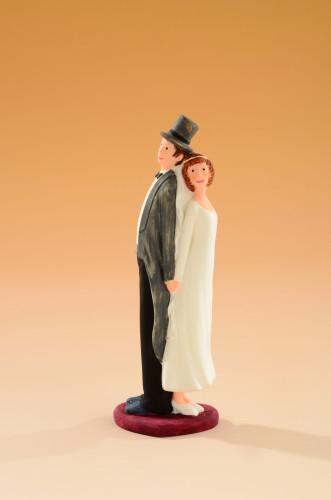 Brautpaar Rücken an Rücken, handgemacht, 15,5cm, 4 Stück