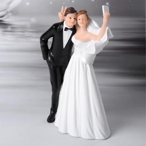 Lustige Brautpaar, Selfie, Polystone, 15,5cm, 4 Stück