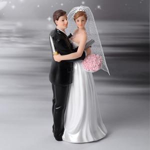 Brautpaar mit Waffe, Polystone, 16cm, 4 Stück