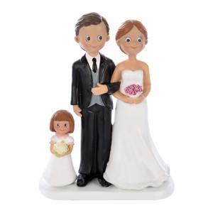 Brautpaar mit kleinem Mädchen, Polystone, 17,5cm, 4 Stück