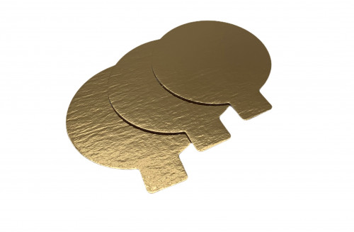 Tortenteller mit Grifflasche, Tortenunterlage, gold, 90mm, 100 Stück