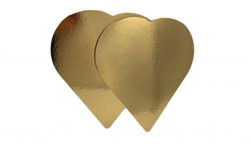 Tortenteller Herz, Tortenunterlage, gold, 27cm, 25 Stück