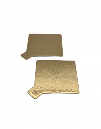 Tortenteller mit Grifflasche, Tortenunterlage, gold, 75x75mm, 100 Stück