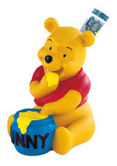 Winnie Pooh Spardose mit Drehverschluss, Kunststoff, ideal für Motivtorten