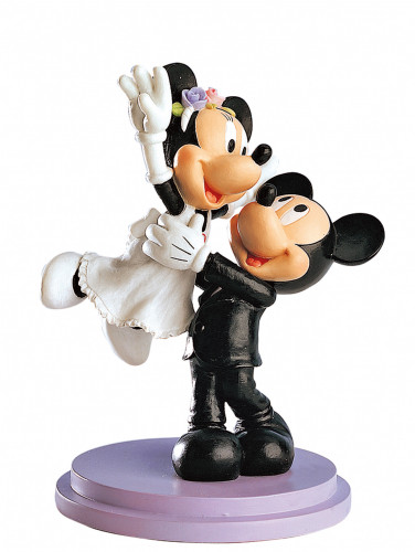 Brautpaar Mickey Mouse hochhebend, Polystone, 18cm, 2 Stück