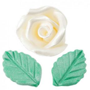 Rosen mit Blättern aus modellierbarer Zuckermasse, Perlmutt-Effekt, klein, weiss