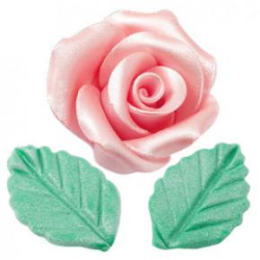 Rosen mit Blättern aus modellierbarer Zuckermasse, Perlmutt-Effekt, groß, rosa