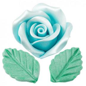 Rosen mit Blättern aus modellierbarer Zuckermasse, Perlmutt-Effekt, groß, hellblau