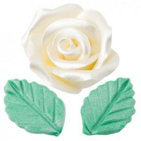 Rosen mit Blättern aus modellierbarer Zuckermasse, Perlmutt-Effekt, groß, weiss