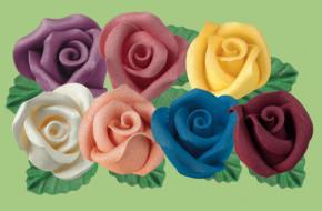 Rosen mit Blatt aus modellierbarer Zuckermasse, 40mm, Samt-Effekt