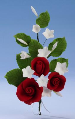 Tragant-Blumenbouquet, rote Rosen, nicht essbar
